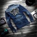 2016 Новый Дизайн Мужские Рваные Джинсы Куртки Лоскутная Стиль мужские Джинсы Одежда Джинсовая Куртка для Мужчин
