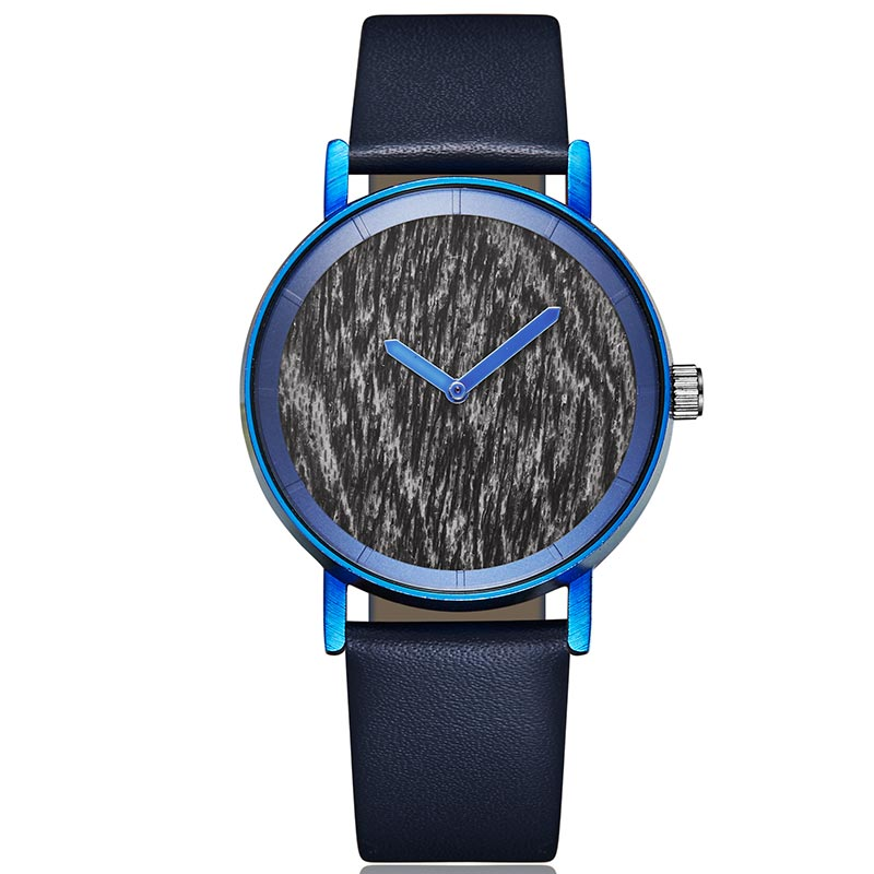Creative Wood Watch Men Women Blue Wood Watches Couple Wrist Watch Lover Clock Natural Marble Wave Wooden Dial Wristwatches