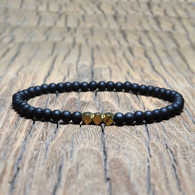 Image 3 - Античный 4 мм черный обсидиан браслет простой молитва йоги бусины  мала Braslet для мужчин нарукавная повязка ювелирные изделия Homme  PulseiraПлетеные браслеты