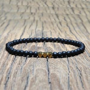 Image 4 - Mode 4 mm Schwarz Matte Obsidian Armband Minimalistischen Yoga Gebet Perlen Braclet Für Männer Armband Mala Schmuck Homme Bileklik