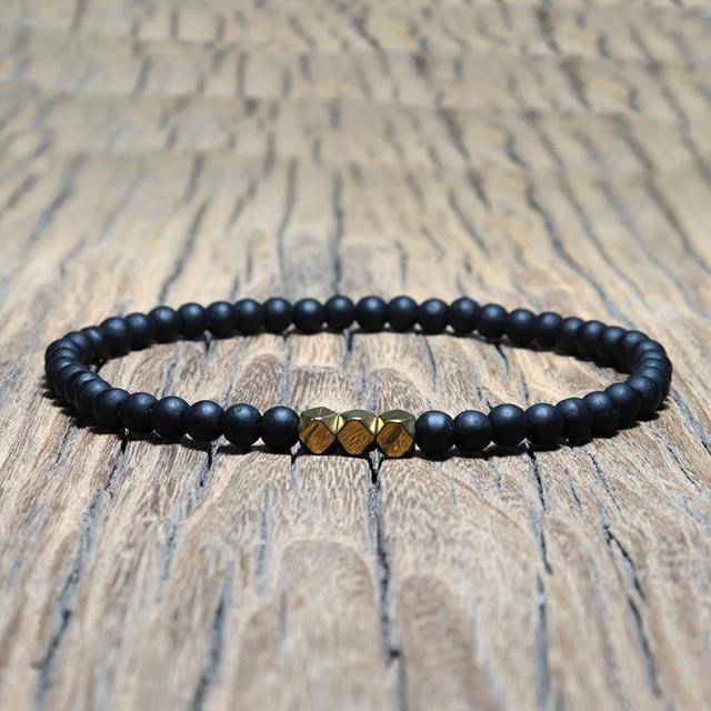 Mode 4 mm Schwarz Matte Obsidian Armband Minimalistischen Yoga Gebet Perlen Braclet Für Männer Armband Mala Schmuck Homme Bileklik