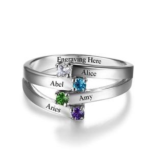 Image 3 - 925 סטרלינג כסף ידידות ומשפחה טבעת לחרוט 4 שמות DIY אישית אבן המזל מתנה עבור אמהות (JewelOra RI102510)