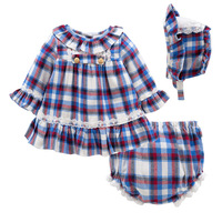 Kids Baby Girls Dress Cute Princess Plaid Bow Tutu Dresses for Girl Birthday Party Outfits 3pcs Set Spanish Toddler Clothes 0 2T