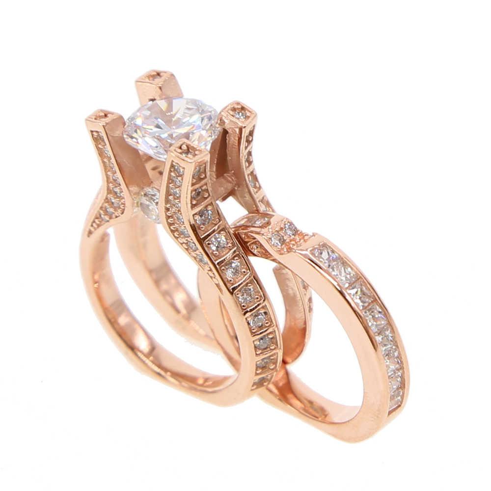 925 เงินสเตอร์ลิง Clearance AAA cubic zirconia แหวน rose gold สี promtion แหวนแต่งงานผู้หญิง