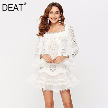 DEAT High Quality Embroidery Hollowed Out Shoulder Long Flare Sleeve Mini Dresses For Women Sexy 2020 Summer New Cloth YH507