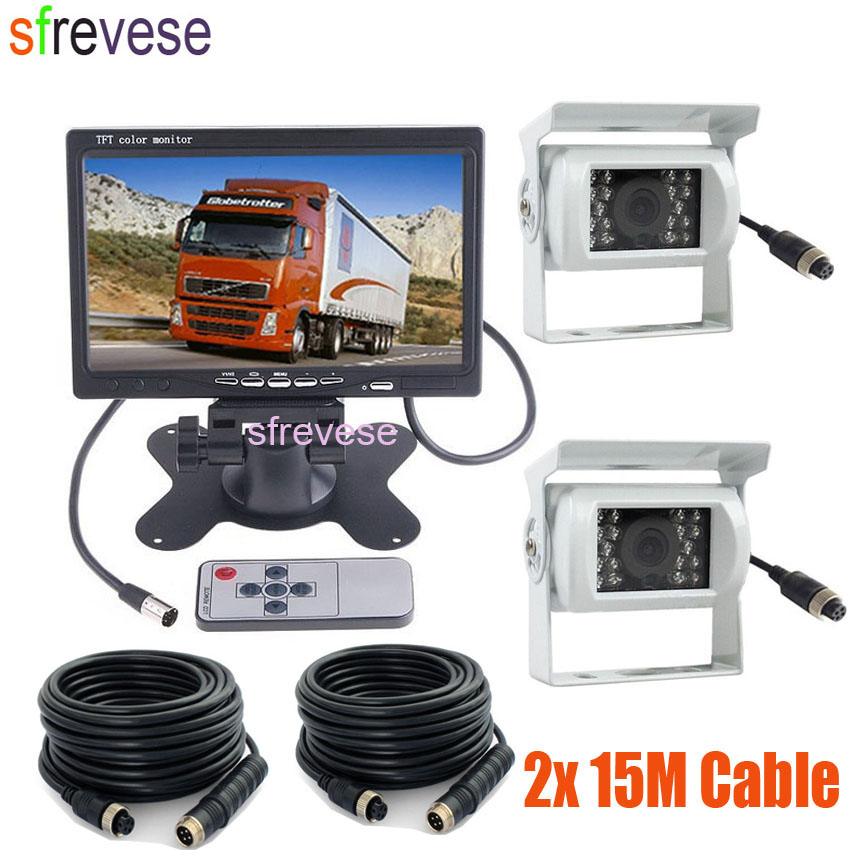 2 x White 18 LED IR Night Vision 4Pin CCD Reversing Parking Camera + 7
