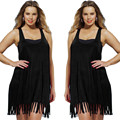 Plus Size Sexy Women Summer Tank tops Hot Sales Boho Beach Tassel Shirts  Top Cover Up Long Soild Loose Tops Free Shipping