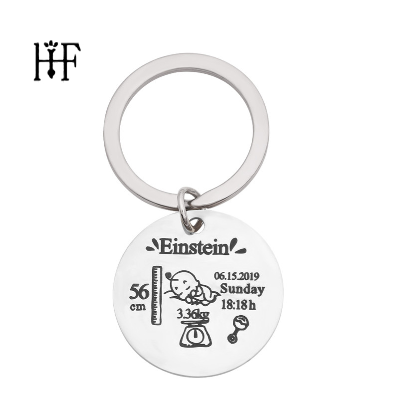Round Baby Keychain Personalized Name Date Of Birth Weight Time Height For Newborn Commemorate Llavero Personalizado Key Ring