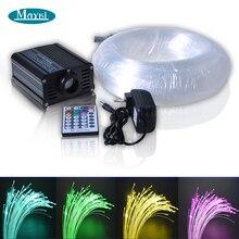 цена Single port 16W RGB LED fiber optic illuminator 200pcs 0.75mm 2m polymer fibre 28 remote cobtroller for 6*10ft star ceiling онлайн в 2017 году
