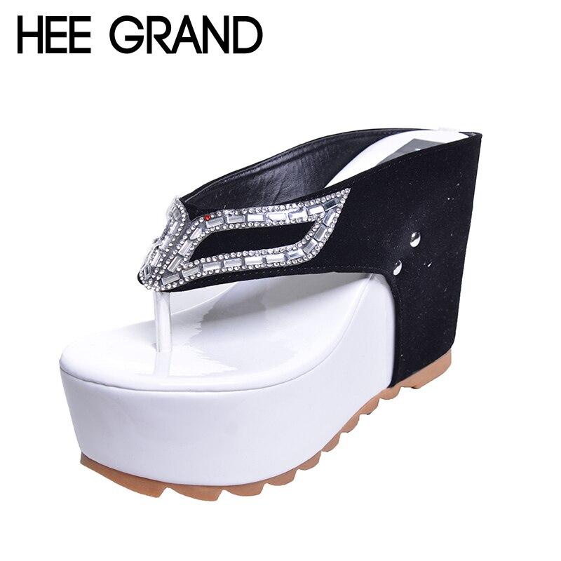 HEE GRAND Marca Zapatos de Mujer Plataforma de Fondo Grueso Chanclas Rhinestone Tacón de cuña Patchwork Mujer Verano Zapatillas XWZ1953