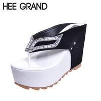HEE GRAND Marque Femmes Chaussures Fond Épais Plate-Forme Flip Flops Strass Wedge Talon Patchwork Femme D'été Pantoufles XWZ1953