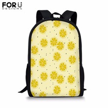 FORUDESIGNS Custom Image Backpack for Teenager Girls Boy Fruit Print School Bag Childrens BookBag Student Mochila Bolsa