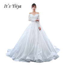 It s YiiYa Off White Full Sleeve Boat Neck Wedding Frocks Beading Bling  Sequined Handmade Flower Luxury Wedding Dress L113 dbb6d99d21cd