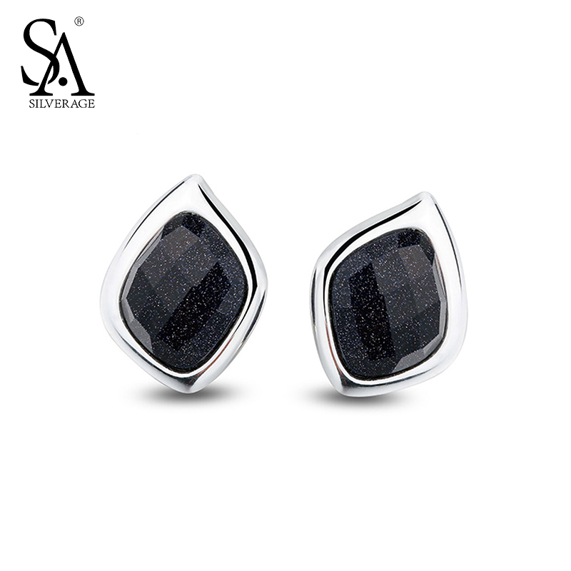 SA SILVERAGE Genuine 925 Sterling Silver Fine Jewelry For Women Stud Earrings Black 2018 Hot Sale sa silverage genuine 925 sterling silver fine jewelry for women stud earrings black 2018 hot sale
