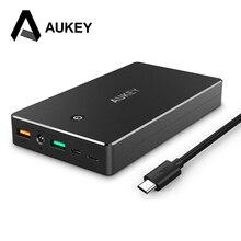AUKEY Hızlı Şarj 3.0 Hızlı Şarj Çift USB 20000 mAh Güç Bankası Taşınabilir Harici Pil Ile Mikro USB & Aydınlatma giriş