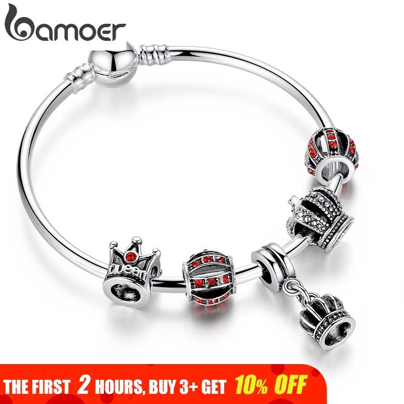 4056083cc BAMOER Simple Silver Charm Bangle & Bracelet with Royal Crown Pendant & Red  Crystal Ball Dropshipping