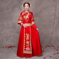 New Chinese Women Vintage Cheongsam Noble Dragon Phoenix Qipao Oriental Embroidery Bride Wedding Dress Vestidos Evening Gowns