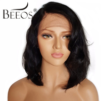BEEOS Short Lace Front Human Hair Wigs With Baby Hair Non Remy Natural Black Color Brazilian