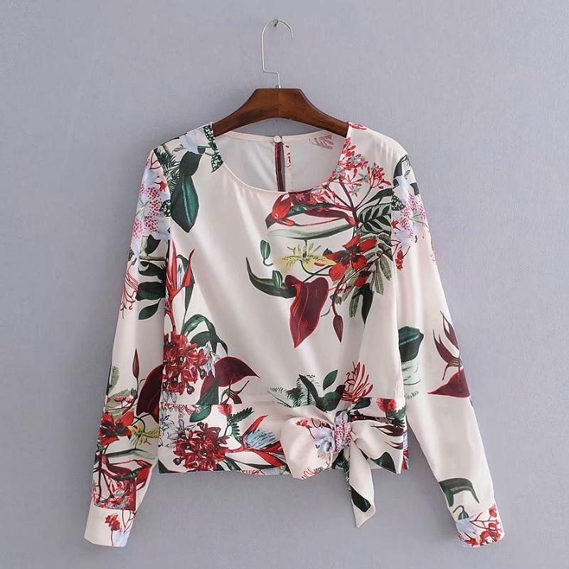 2018 Frauen Elegante O Neck Langarm Saum Bowknot Drucken Marke Blusen Shirt Weibliche Chic Femininas Blusas Beiläufige Dünne Tops Ls2506 Angenehm Zu Schmecken