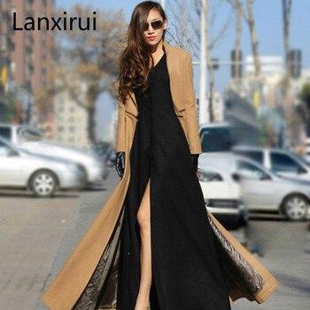 Plus Size S- 2XL New Fashion Female Over Coat Women Long Winter Overcoat Zipper Separable Jacket Manteau