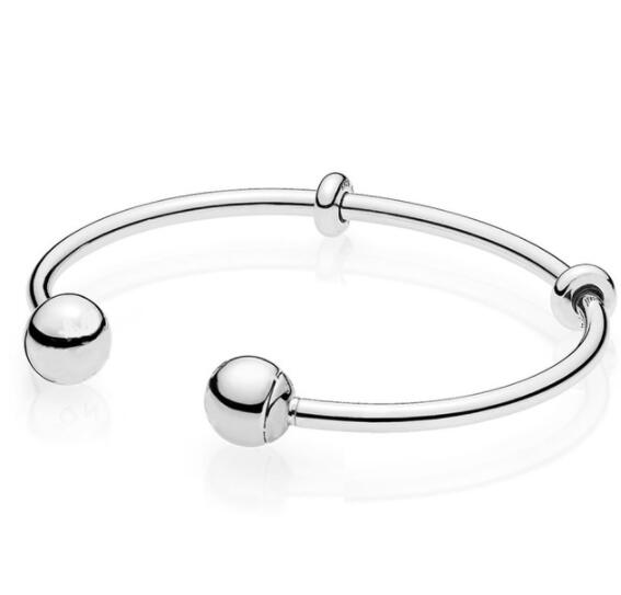 Top Quality Moments Silver Open With Signature Caps Pandora Bangle Bracelet Fit Bead Charm 925 Sterling Silver Jewelry