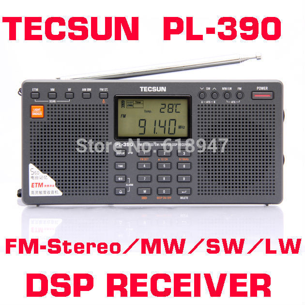 Free Shipping Retail-Wholesale Tecsun PL390 pl-390 ETM FM Stereo SW MW LW DSP Radio Dual Speaker Radio free shipping tecsun mp 300 fm dsp clock radio usb mp3 player high sensitivity stereo radios ats retail package
