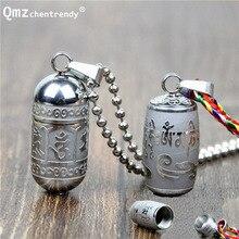 Ожерелье с подвеской Om Mani Padme Hum S из нержавеющей стали для женщин и мужчин, буддизм, вечерние, винтажные, мантра, бутылка золы, ожерелье, ювелирные изделия