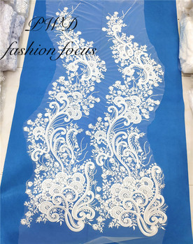 Sequins Nigerian Embroidered Lace Super Quality Luxury White Flower Bridal French Net Lace Fabric For Wedding Dress