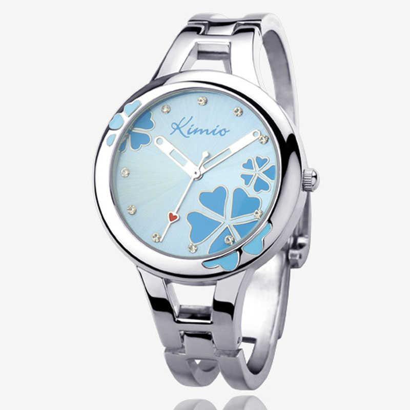 KIMIO Women's Watches Ladies Stainless Steel Quartz Watch Heart Clover Flower Dial Bracelet Watch Dress Wrist Watch montre femme