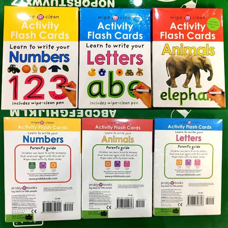 3 Box/Set avec stylo essuyer nettoyer les enfants début de l'enseignement anglais mot FlashCard animaux lettre numéro cartes jouet d'apprentissage