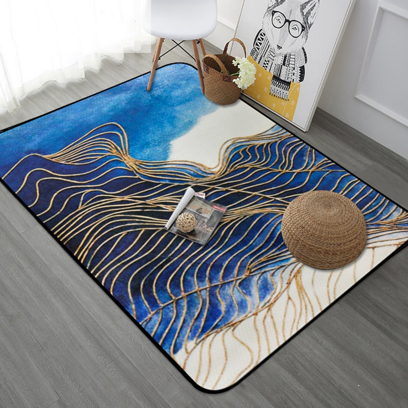 Elegant Nordic Style Golden Stripe Rectangle Tapete Thicken Soft Mat Modern Bedroom  Large Carpets Living Room Rugs Kids Play Area Mats In Carpet From Home U0026  Garden ...