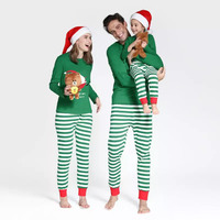Family Christmas Santa Matching Clothes Sets Family Pajamas Home Wear Striped Cotton Father and Son Mom Sleeping Clothing Outfit
