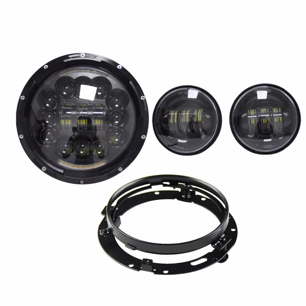 SKTYANT 7 inch LED Headlight Halo DRL with fog lights Passing Light with bracket for Harley-Davidson Motorcycles Daymaker (Blac