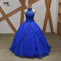 Royal Blue Quinceanera Dresses 2017 Halter Open Back Beaded Appliques Ball Gown Sweet 16 Party Dress