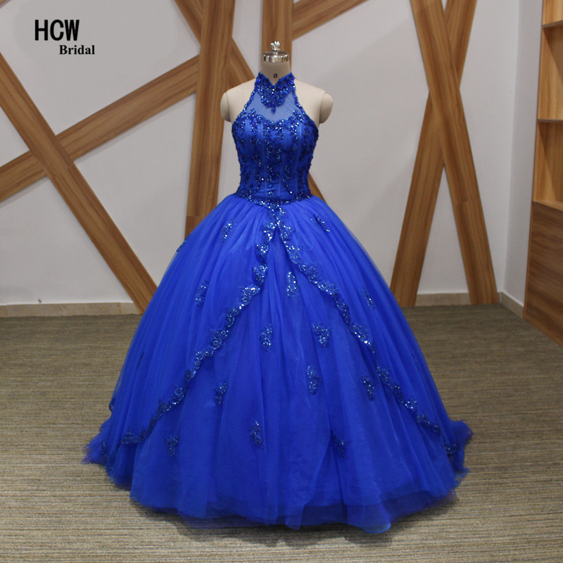 Royal Blue Quinceanera Dresses 2020 Halter Open Back Beaded Appliques Ball Gown Sweet 16 Party Dress Cheap Quinceanera Dress