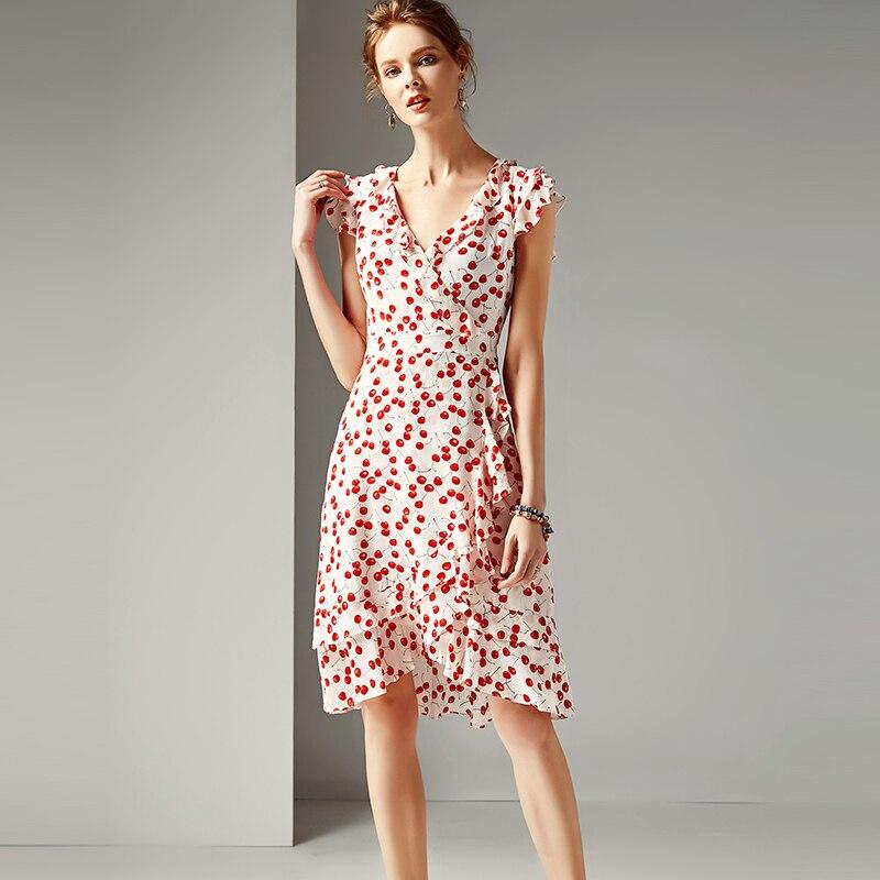 Dress Women 100 Silk Fabric Cherry Printed V Neck Butterfly Sleeve High Waist A line Casual