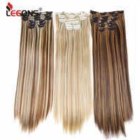 Leeons 6 H/613 # Clip In sur Extensions de cheveux 6 pièces/ensemble 16 Clips Extension de cheveux pleine tête 55 Cm cheveux en Fiber synthétique droite postiches