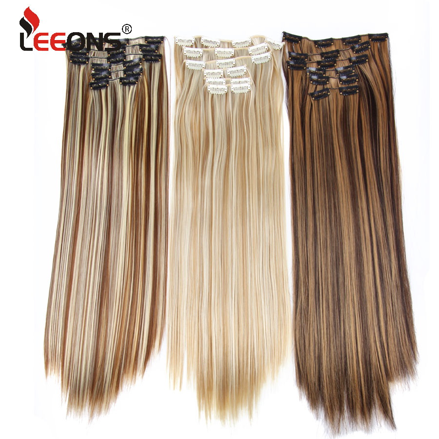 Leeons 6H/613# Clip In On Hair Extensions 6Pcs/Set 16 Clips Hair Extension Full Head 55Cm Straight Synthetic Fiber Hairpieces