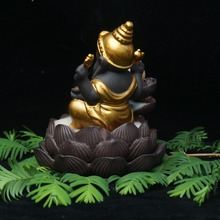 Lord Ganesha- Ceramic backflow incense burner god  incense base home decor ganesha purple sand sandalwood figurines