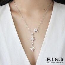 92d12a0301ba F.I.N.S Estrella de plata esterlina 925 COLLAR COLGANTE Micro incrustaciones  de Zirconia cúbica ajustable colgantes para las muj.