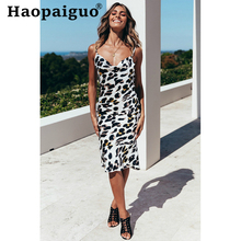 S-XXL Plus Size Black Print Leopard Dress Women Spaghetti Strap Backless Sexy Party Yellow Wrap Midi Summer Dresses