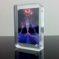 Customized 12inch Magnetic Acrylic Picture Landscape Frame Clear Plexiglass Photo Block Design