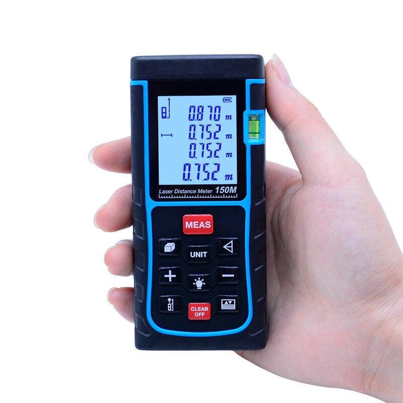 High quality SW-E150 150M 492ft Laser Distance Measure Meter W/ Bubble Level Rangefinder Range Finder Tape Measure Large LCD hmc492lp3e 492 qfn16 high quality