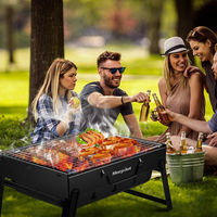 Outdoor Foldable BBQ Charcoal Grill Portable Barbecue Camping Hibachi Picnic Set New