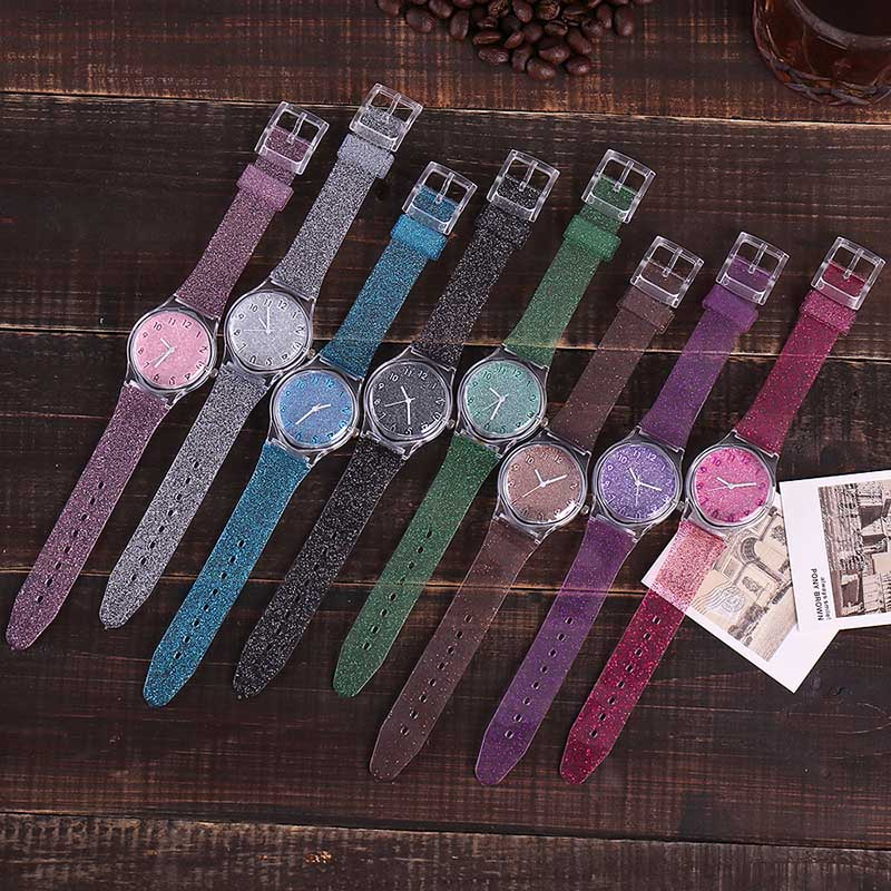 Hot Sales Fashion Women Shiny Quartz Watch Silicone Strap Glitter Round Dial Girl Casual Wristwatch SMA66