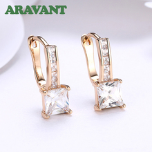 New Luxury Champagne Gold Color Earrings Fashion Square AAA+ Cubic Zircon Drop Earring For Women Fashion Jewelry цены онлайн