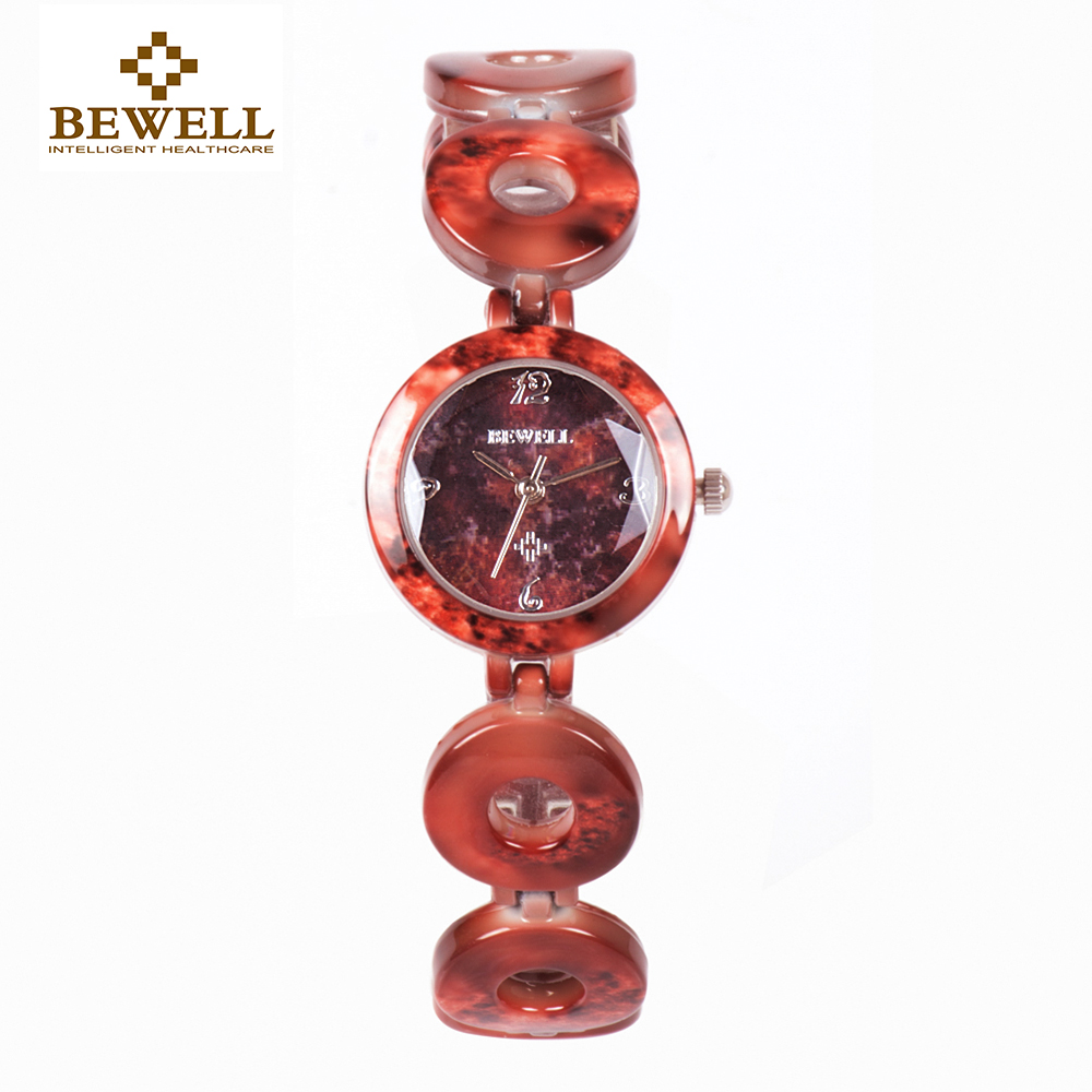 BEWELL W075A New Arrivals Red Stone Watch Women Bracelets Made of Gems & Stones Limited Edition Girls Quartz Round Face Watch new mf8 eitan s star icosaix radiolarian puzzle magic cube black and primary limited edition very challenging welcome to buy
