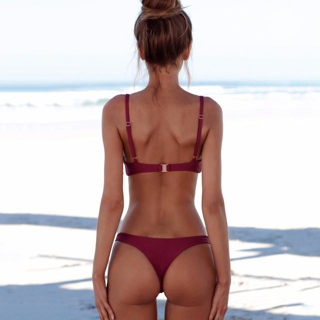 COSPOT bikini 2019 Sexy kobiety stroje kąpielowe brazylijskie bikini push up strój kąpielowy stałe Beachwear strój kąpielowy stringi Biquini bikini Set tanie i dobre opinie Bikinis Set Wire Free Spandex Niska talia Pasuje do rozmiaru Weź swój normalny rozmiar PF016 S M L XL 10 kolorów opcji