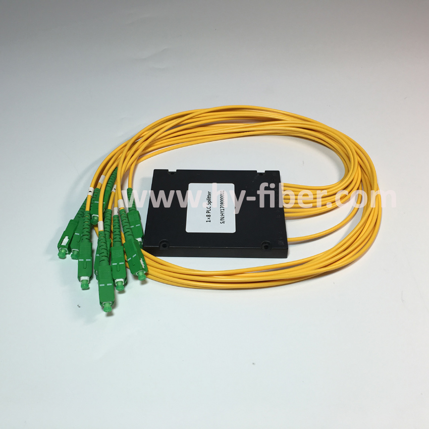 Free Shipping 1x8 PLC splitter ABS box with SC APC Green connector G657A1 3 0mm cable