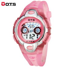 OTS Cute Student Wrist Watch for Boy Girl Fashion Sport Electronic Watch for Kids Children Waterproof Alarm Led Digital Clock